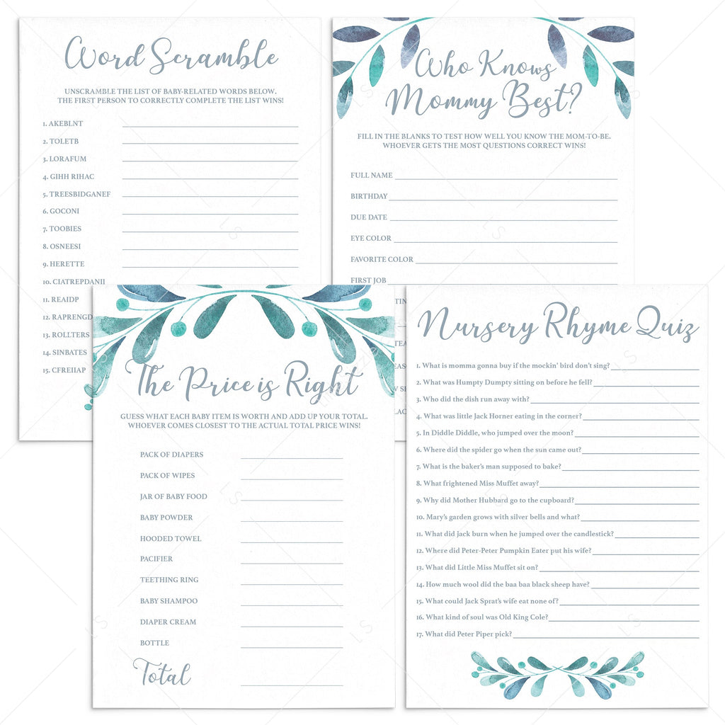 Winter Themed Baby Shower Games Bundle Printable by LittleSizzle