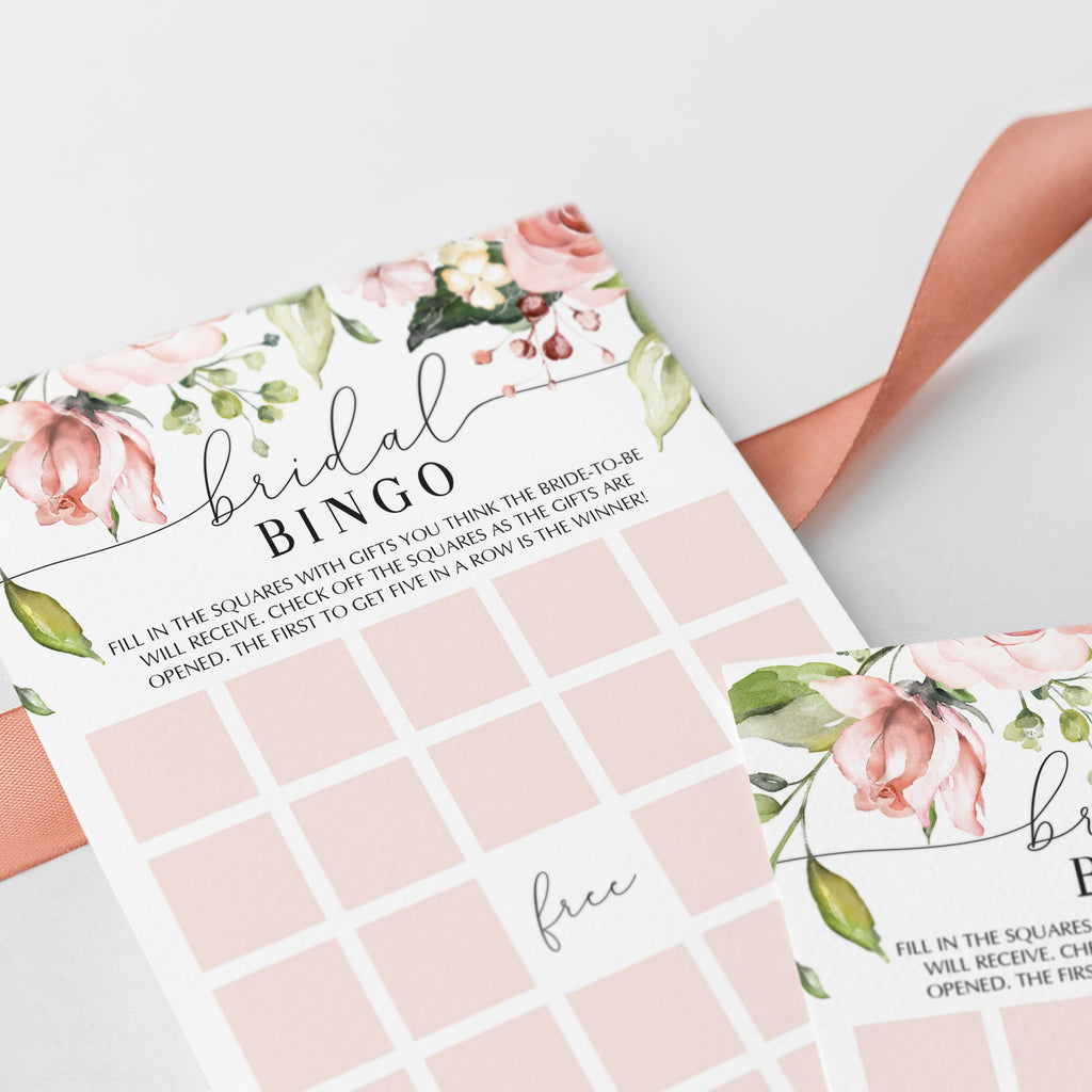 blank bridalshower bingo cards for openings gifts game