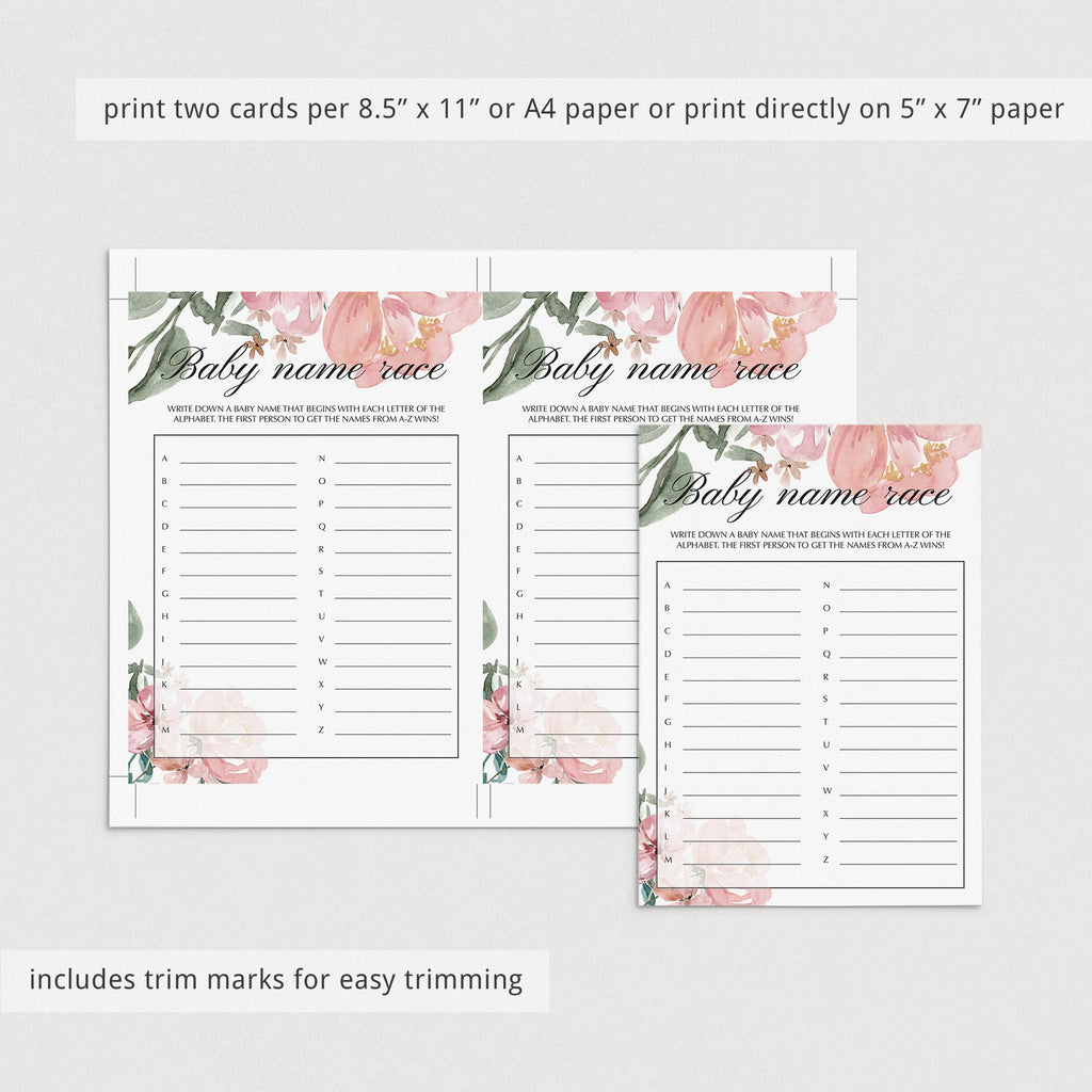 Floral baby shower name guessing game by LittleSizzle