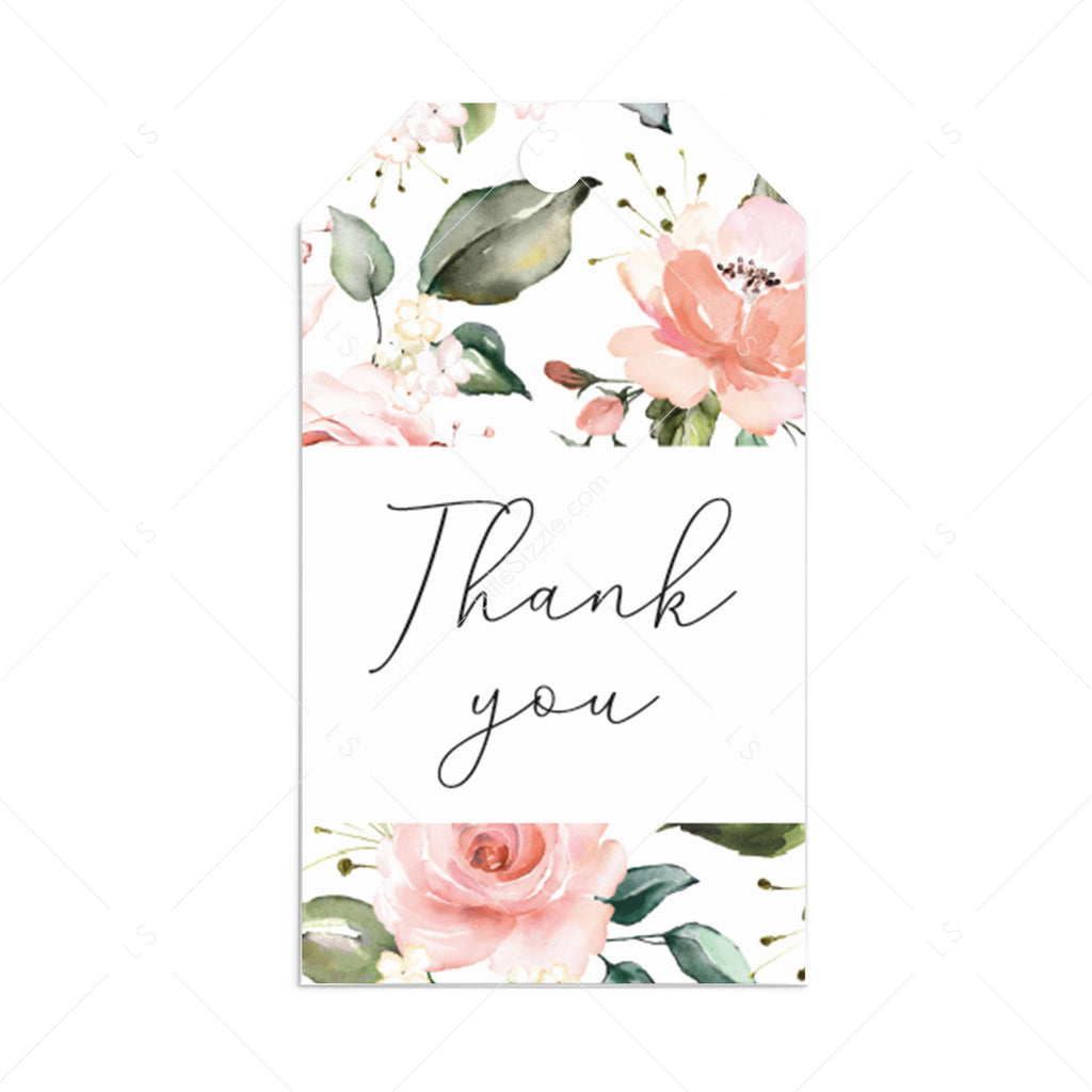 Blush floral thank you favor tags printable by LittleSizzle