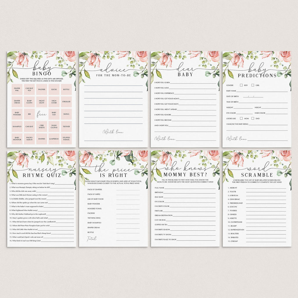 Instant Download Baby Shower Game Package Blush Floral by LittleSizzle