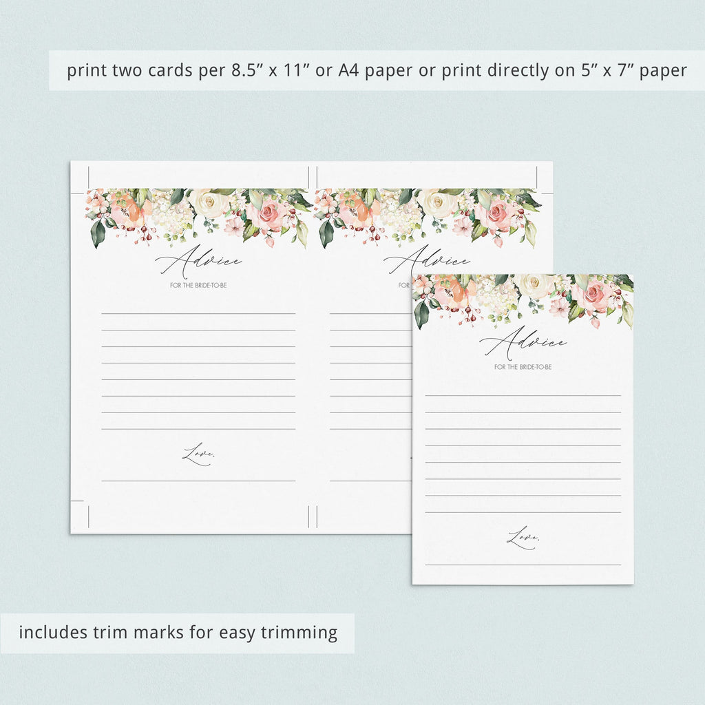 watercolor flowers advice cards bridalshower printables