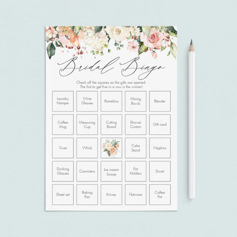 floral bridal bingo template download by LittleSizzle
