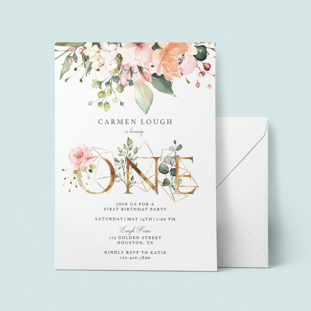 Blush floral one birthday invitation template digital download by LittleSizzle