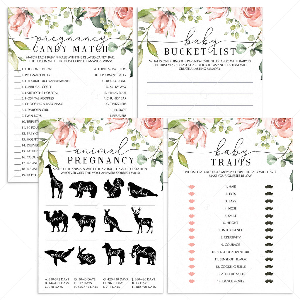 Blush Floral and Greenery Baby Shower Games Bundle by LittleSizzle