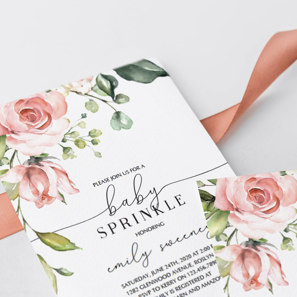 Watercolor floral babysprinkle invite by LittleSizzle