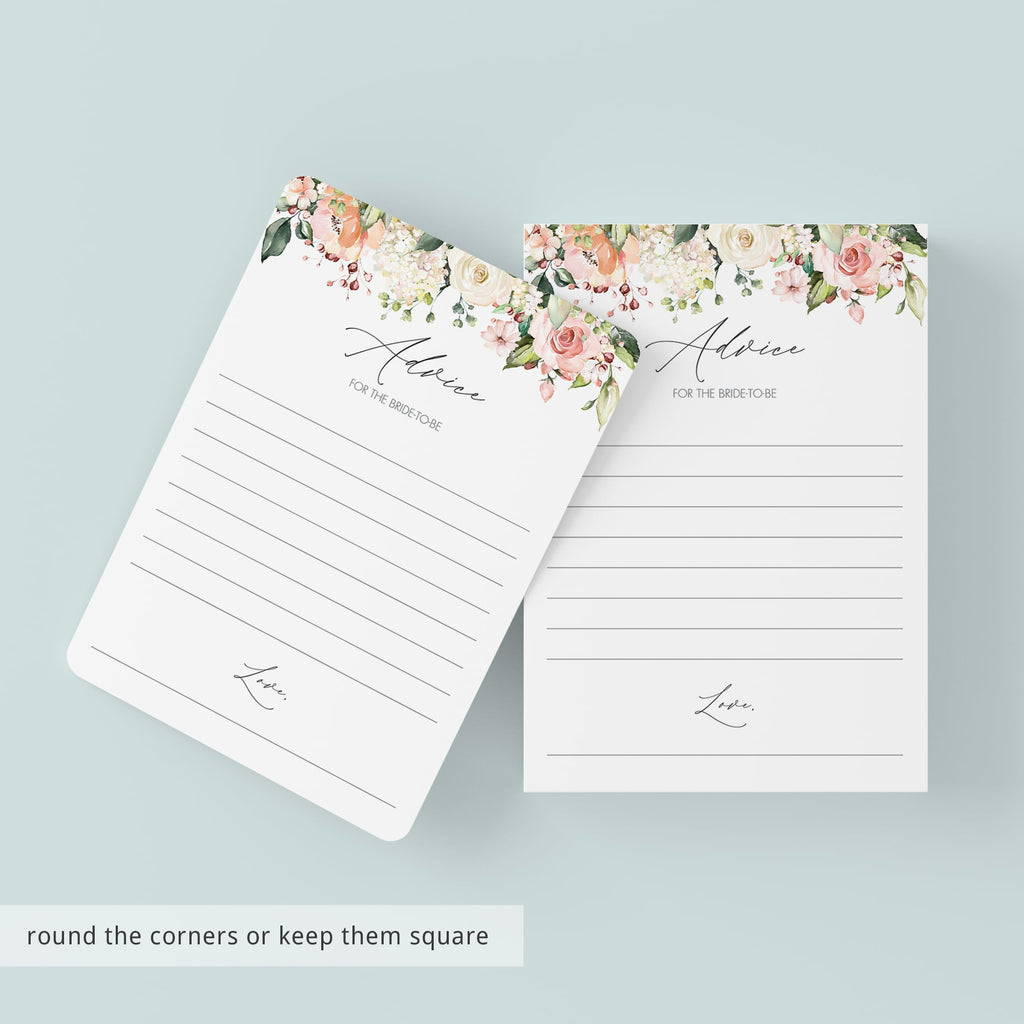 Blush Flowers Bridal Shower Advice for Bride-to-be Cards