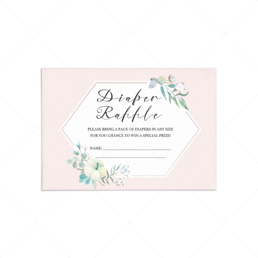 Girl baby shower diaper raffle tickets instant download by LittleSizzle