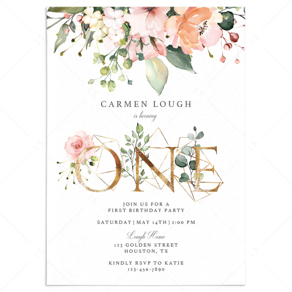 Blush Floral First Birthday Invitation Template Gold One by LittleSizzle