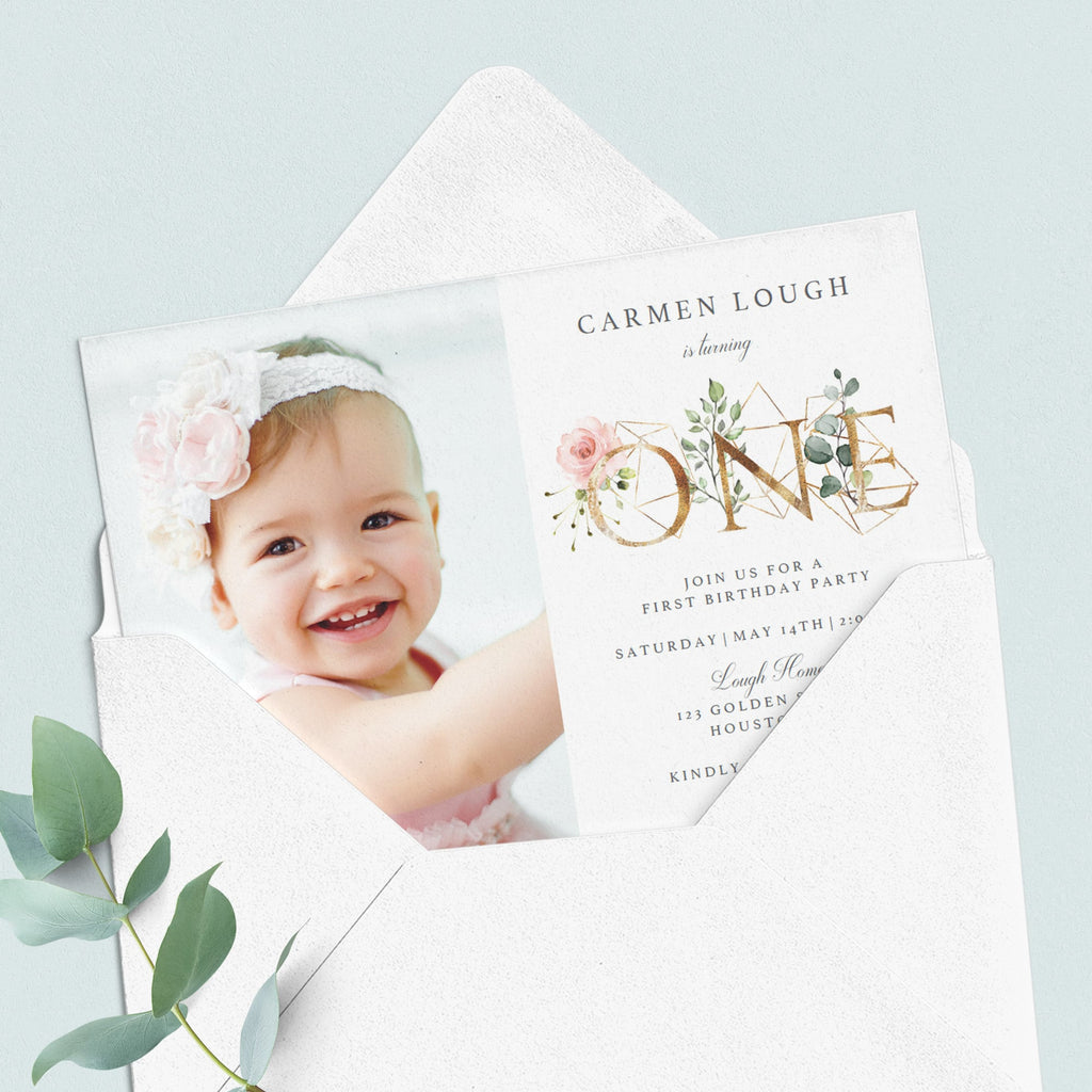 Floral one first birthday invitation personalized by LittleSizzle