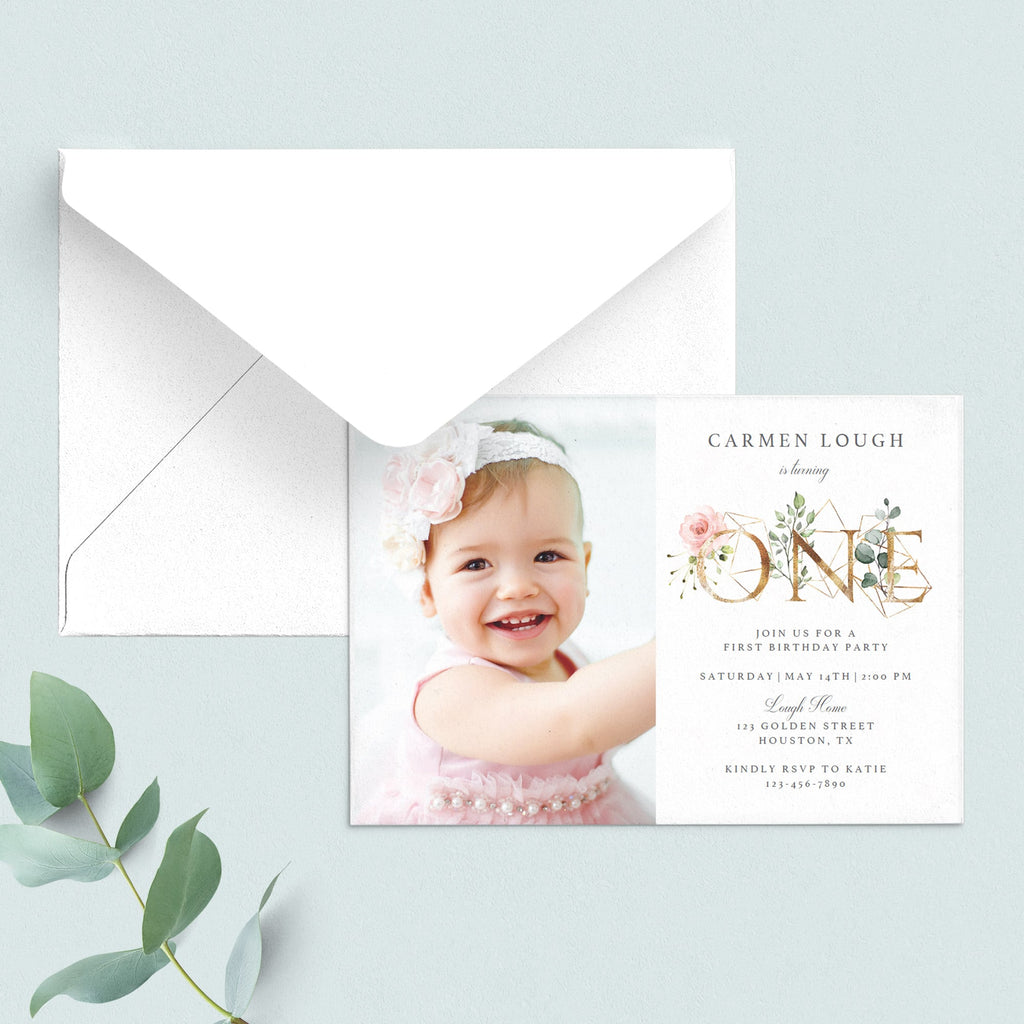 Digital first birthday invitation one download by LittleSizzle