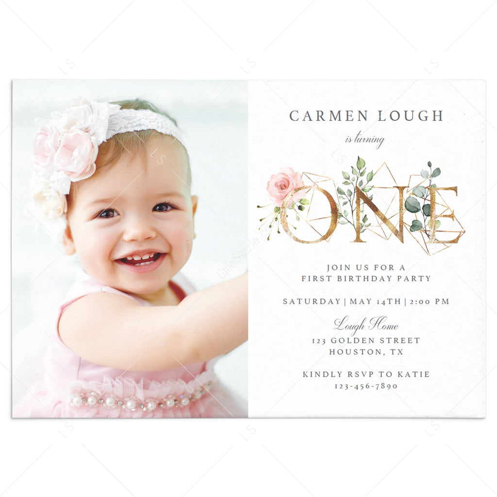 Girl Floral One First Birthday Invitation Editable Template by LittleSizzle