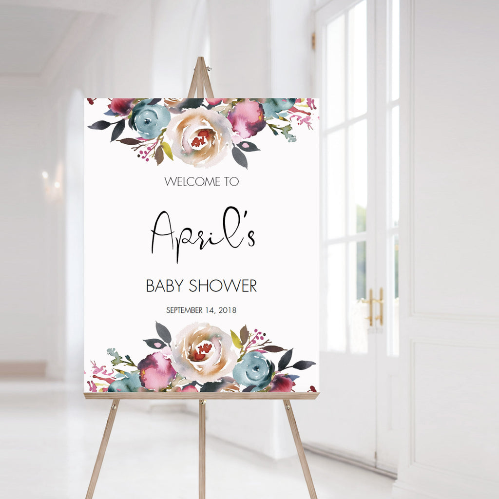 Personalized shower welcome sign floral watercolor by LittleSizzle