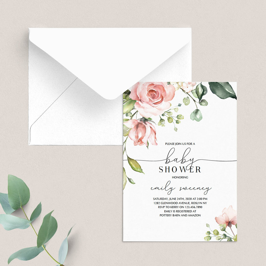 Blush flowers baby party invitation template by LittleSizzle