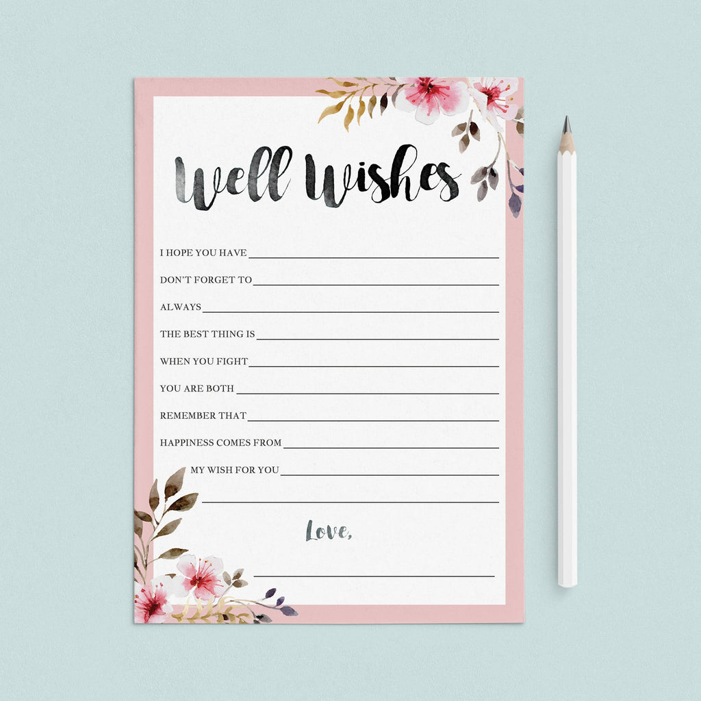 Spring Wedding Well Wishes Cards Printable by LittleSizzle