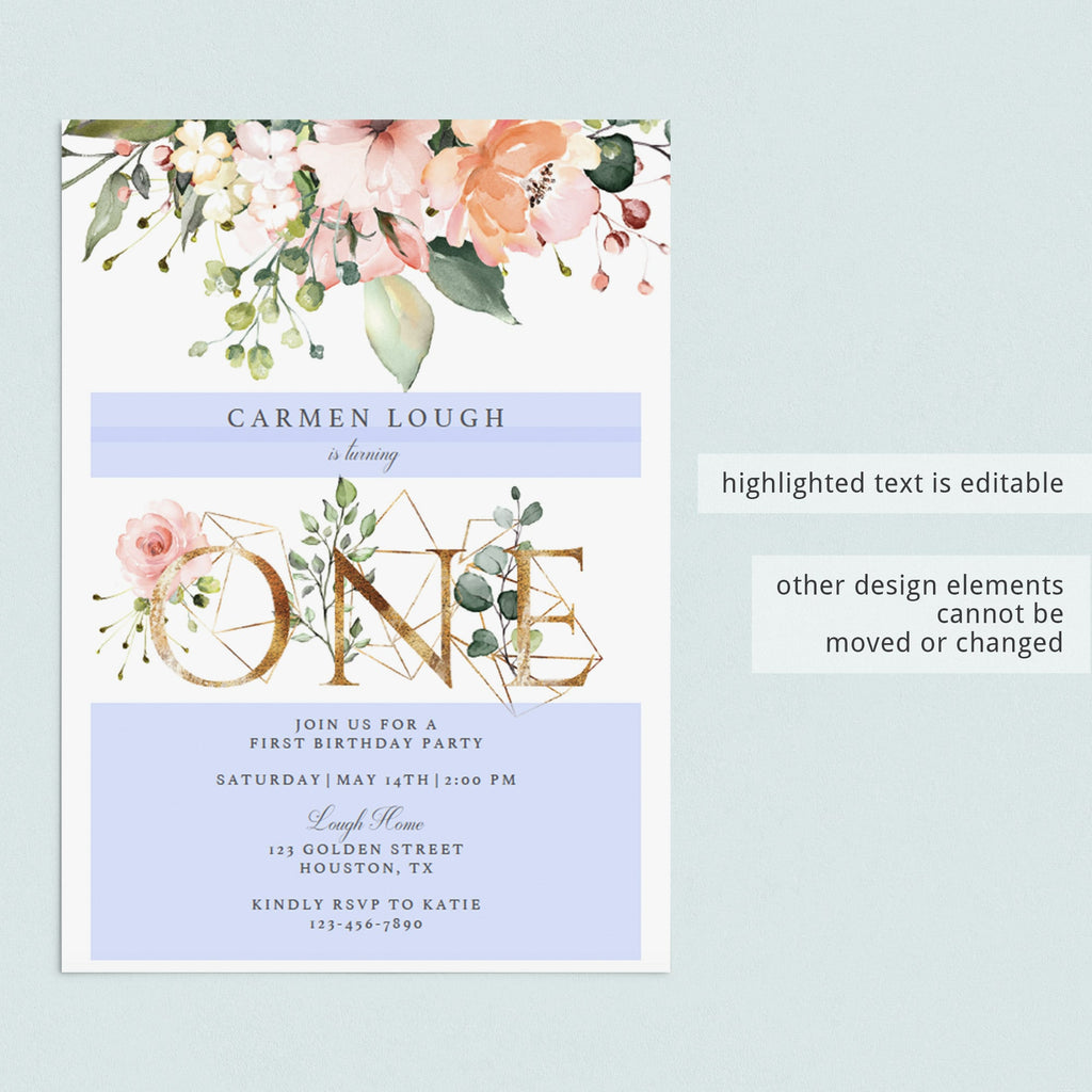 Floral one birthday invitation editable template by LittleSizzle