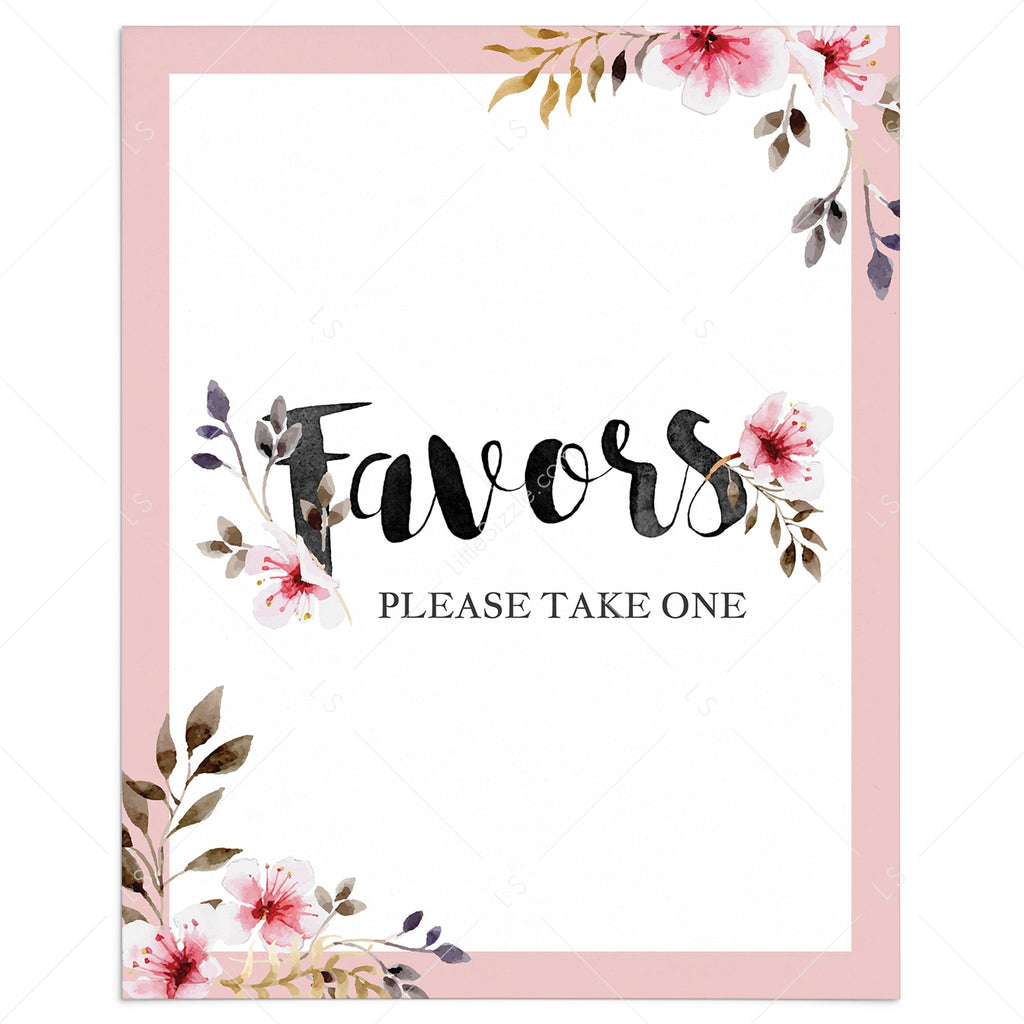 Printable favors sign with blush pink flowers by LittleSizzle