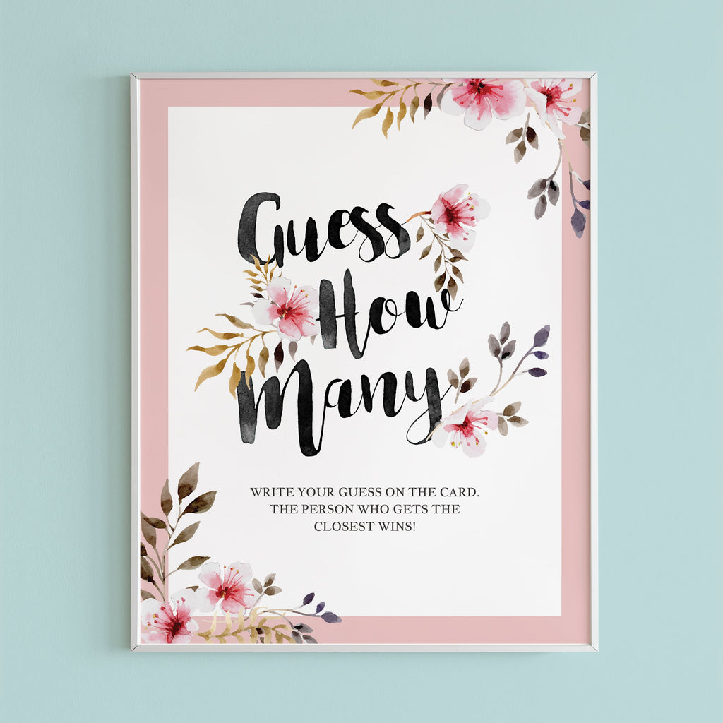 Floral Guess How Many sign printable by LittleSizzle