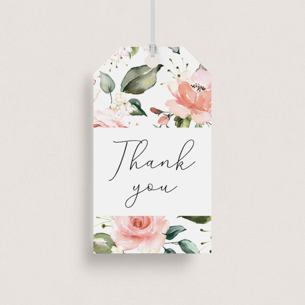 Watercolor flowers thank you tags printable by LittleSizzle