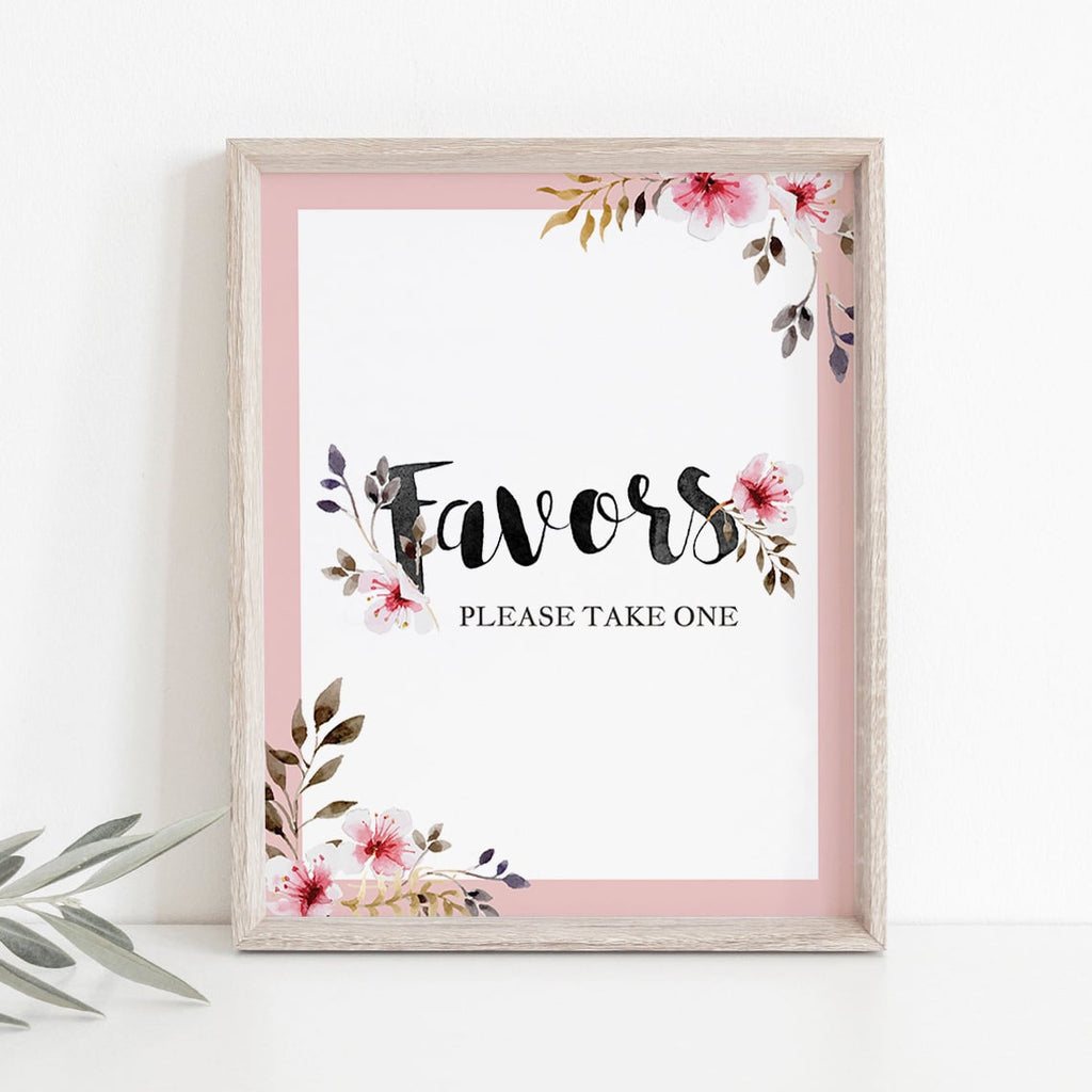 Pink watercolor flowers on favors sign for outdoor shower by LittleSizzle