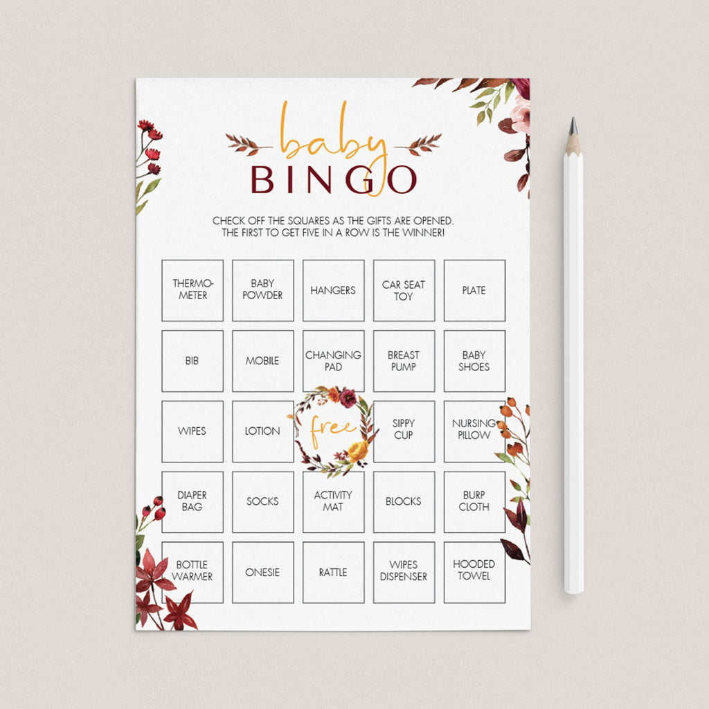 Bohemian baby bingo cards blank and prefilled by LittleSizzle