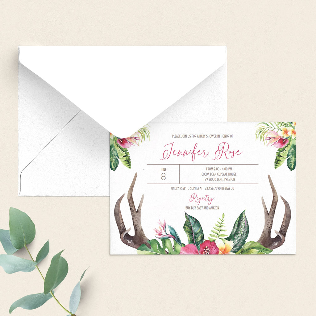 Baby antler and pink flowers editable baby shower invite by LittleSizzle