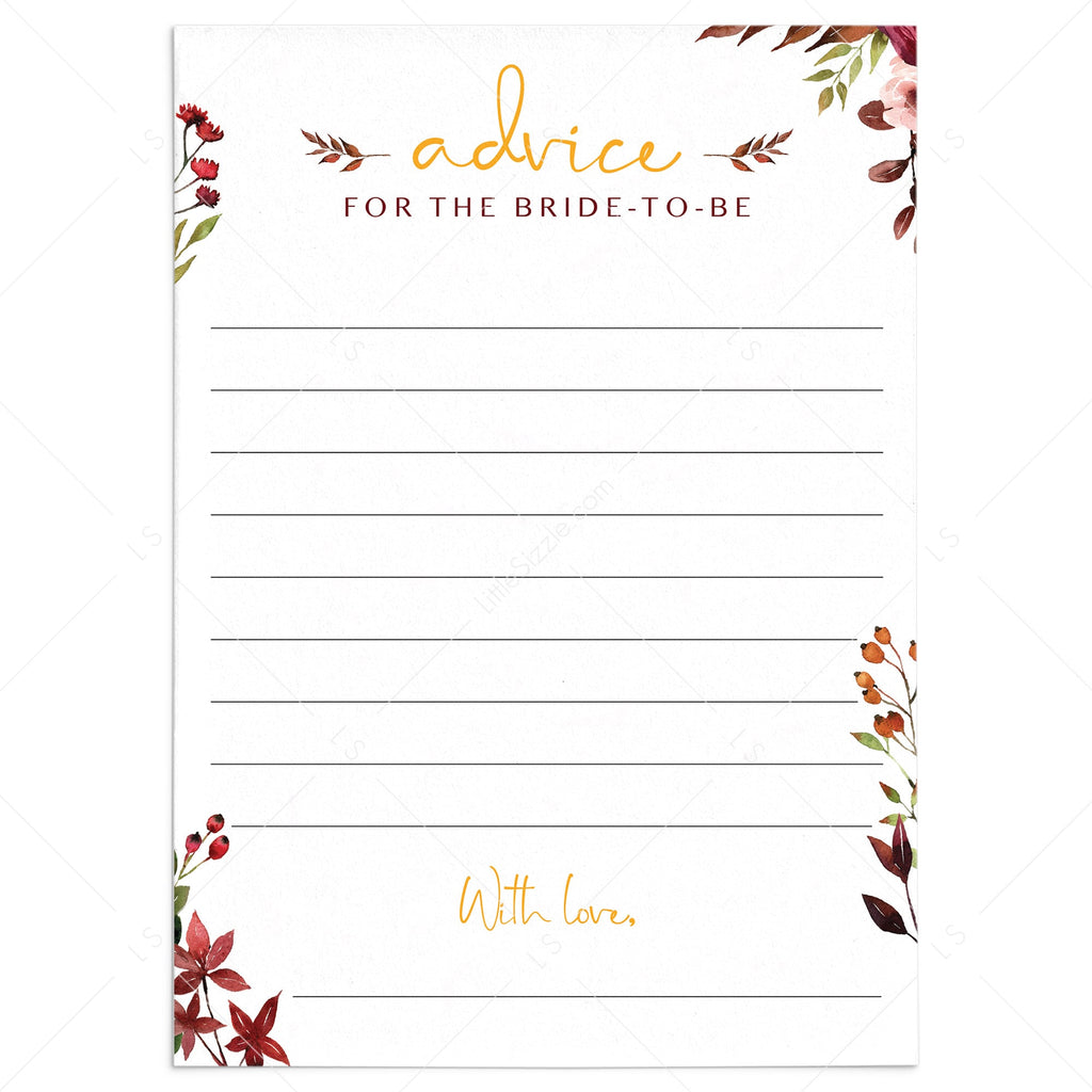 Red floral bridal shower advice cards printable by LittleSizzle