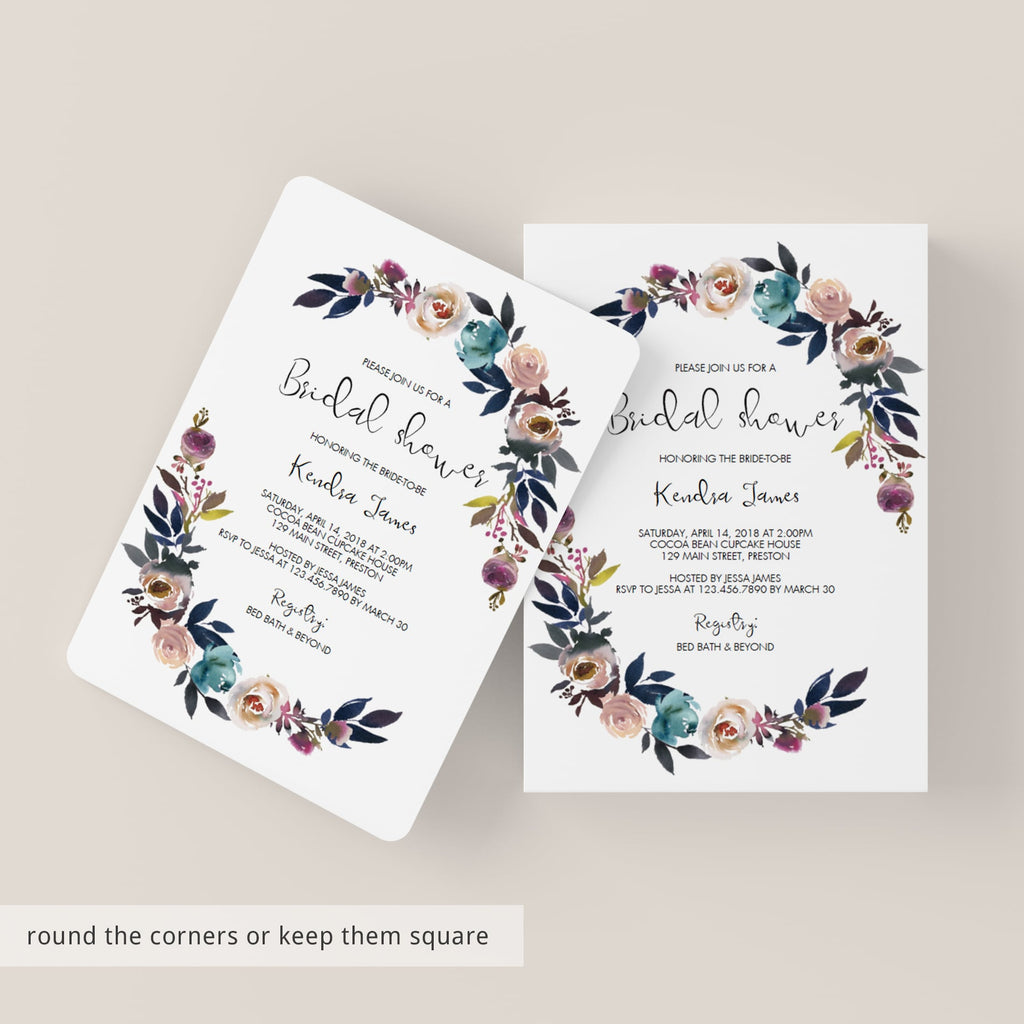 peonies bridal shower invitations floral themed