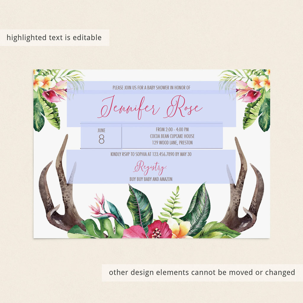 Watercolor antlers and floral baby shower invitation by LittleSizzle