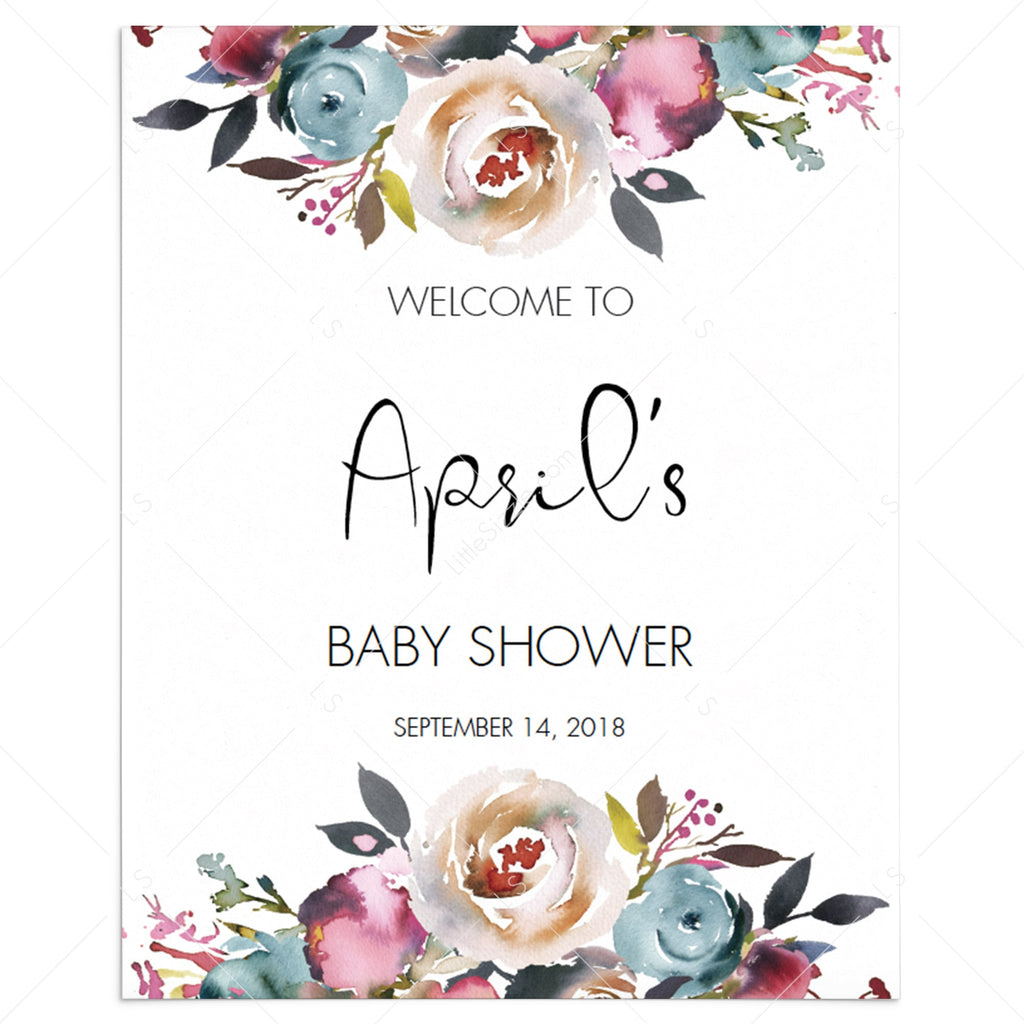 Bohemian shower welcome sign template by LittleSizzle
