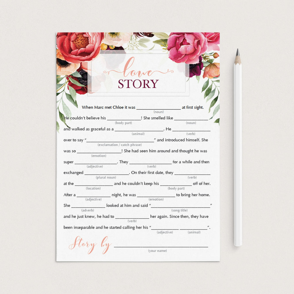 editable wedding mad libs for bridal shower