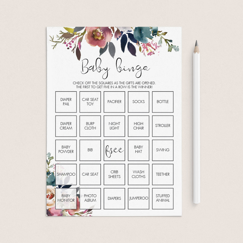 Boho Floral baby shower baby bingo game printable by LittleSizzle