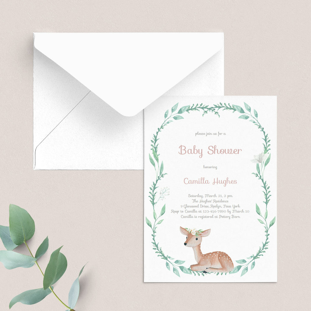 Baby Deer Baby Shower Invitation Template With Green Wreath