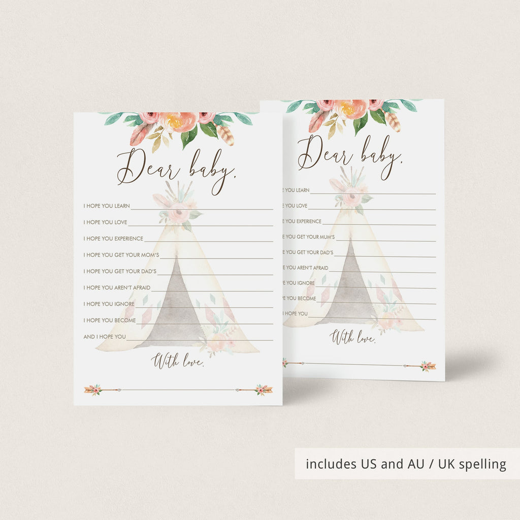 Tribal Baby Shower Wishes for Baby Card with Teepee