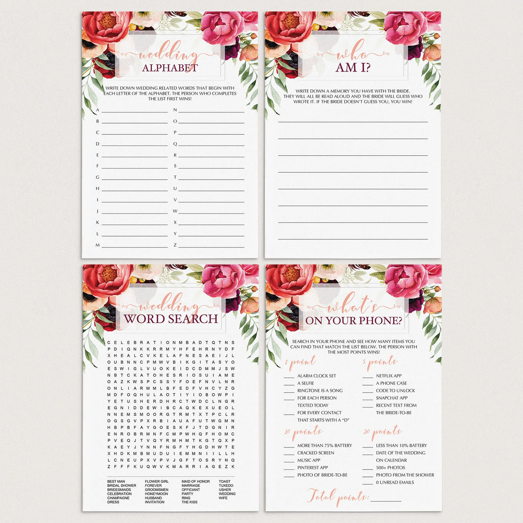 Red Floral Bridal Shower Games Package Download by LittleSizzle