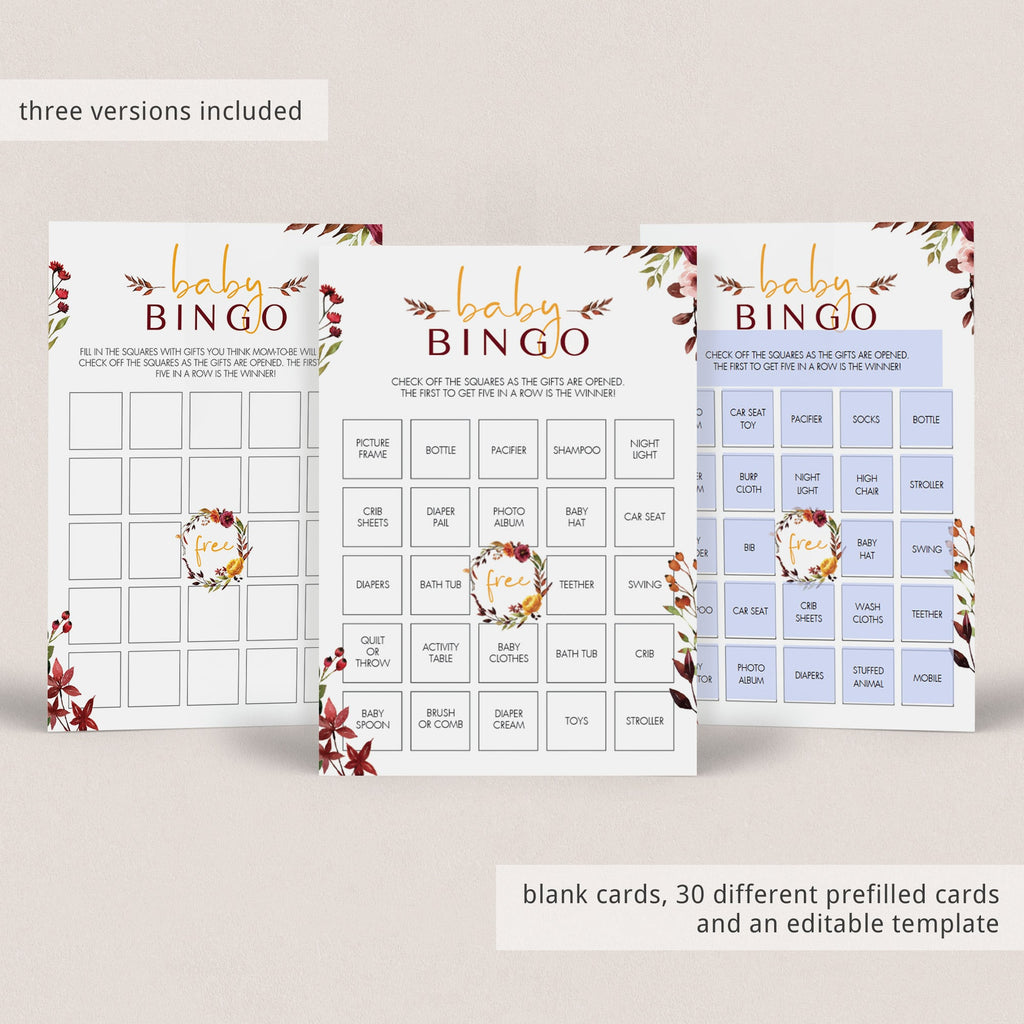 Prefilled bingo cards for boho baby shower by LittleSizzle