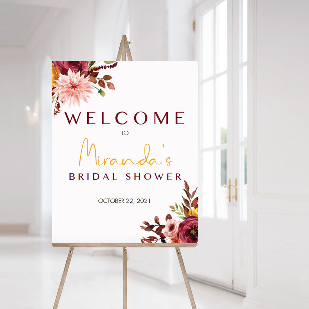Bridal shower welcome poster template burgundy flowers by LittleSizzle