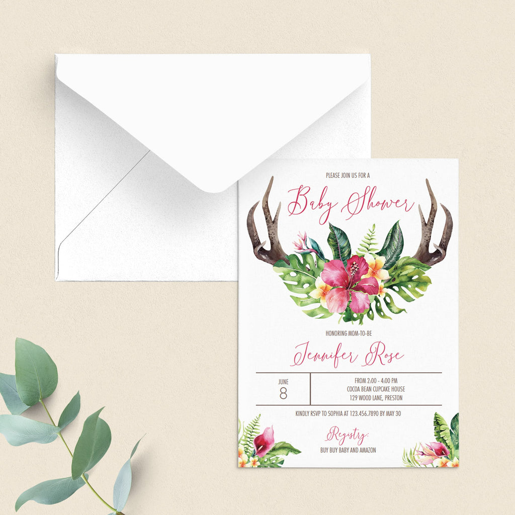 Flower antler baby shower invitation template for girl by LittleSizzle
