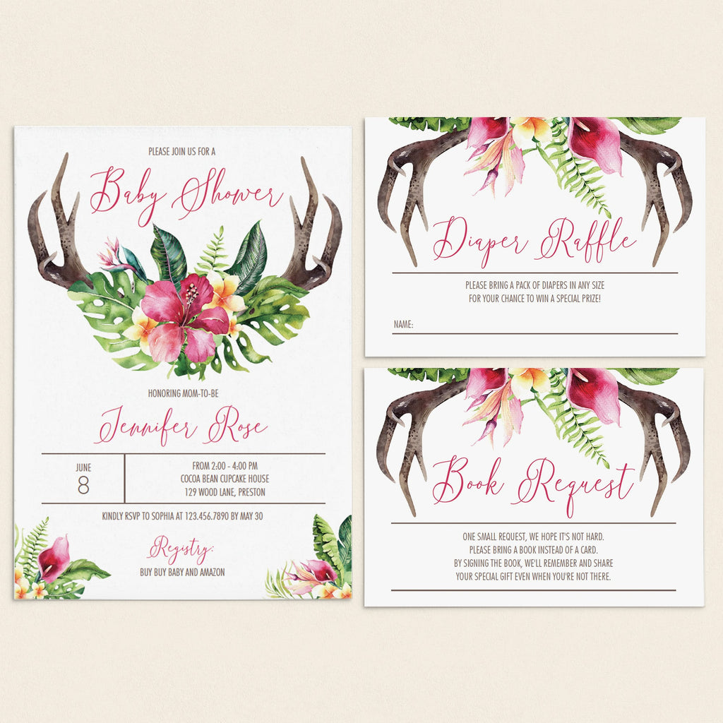 Floral antler baby shower invitation set download by LittleSizzle