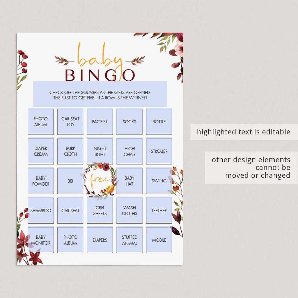 Boho floral baby bingo game cards by LittleSizzle