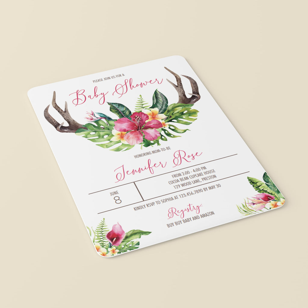 Watercolor antler and flowers on baby shower invite template by LittleSizzle