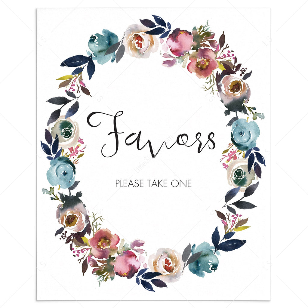 Floral wreath party favors sign printable by LittleSizzle