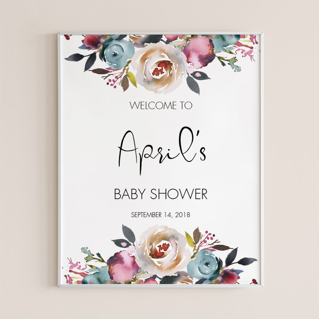 Floral watercolor shower welcome to sign by LittleSizzle