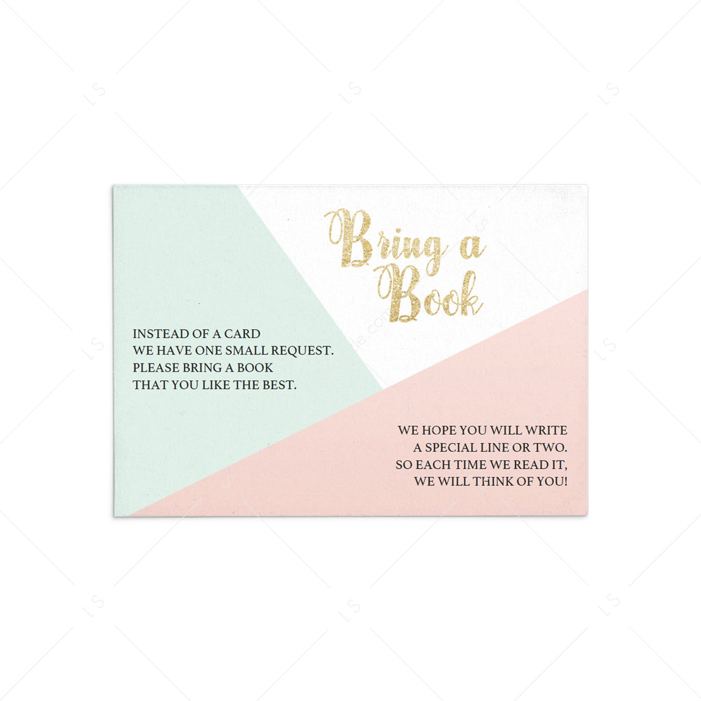 Geometric Bring a Book request card template by LittleSizzle