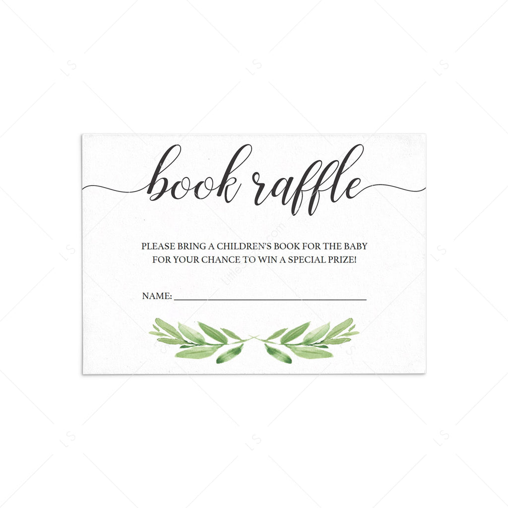 Baby shower book raffle tickets greenery template by LittleSizzle