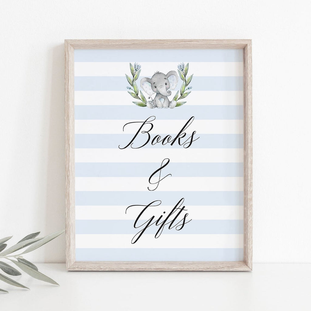 Baby Elephant baby shower books and gifts sign by LittleSizzle