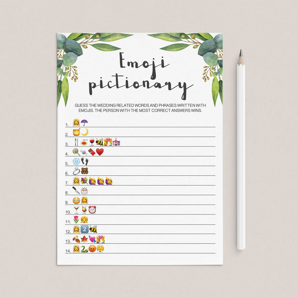 watercolor green leaves bridal shower emojis game instant download