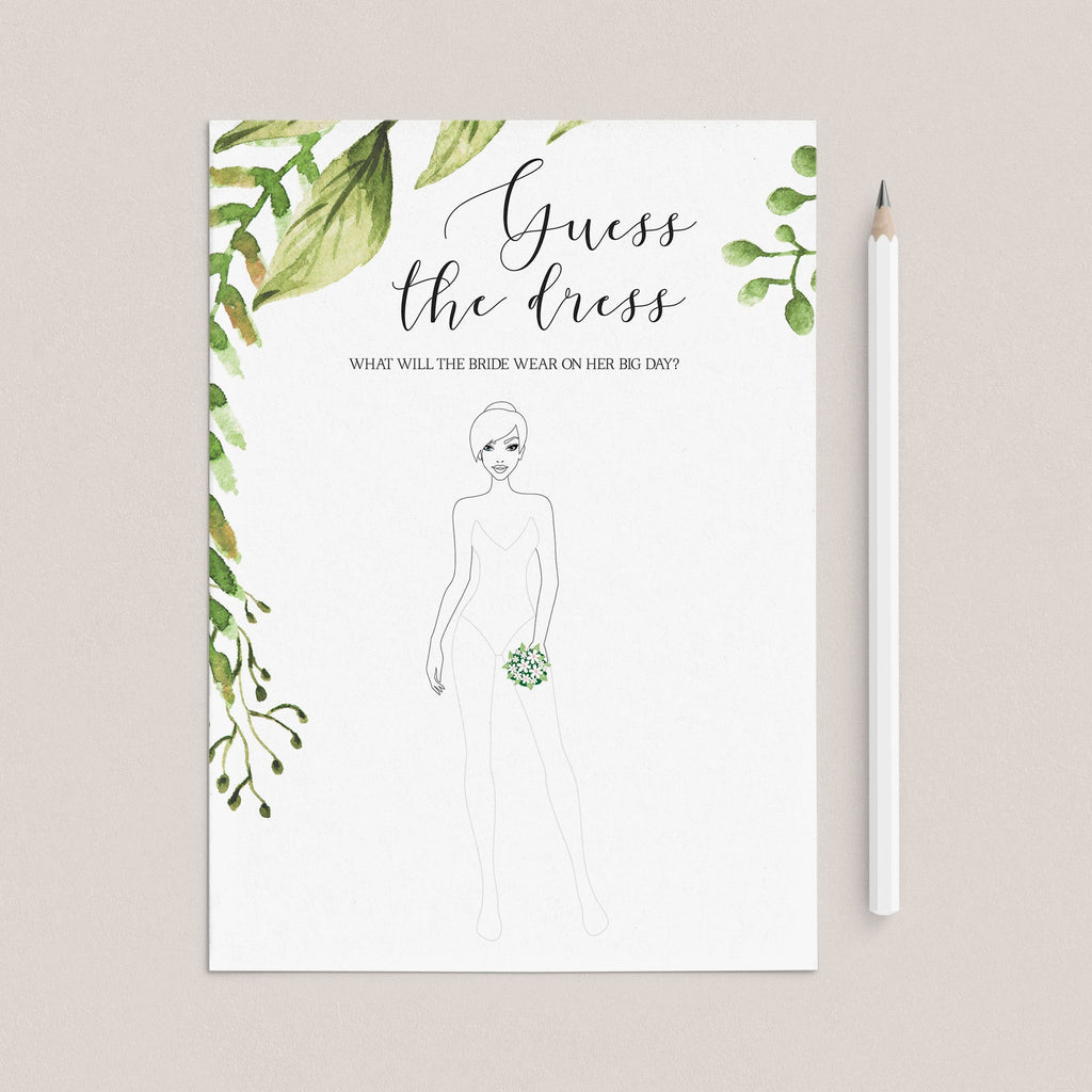 guess the dress bridal shower game printable by LittleSizzle