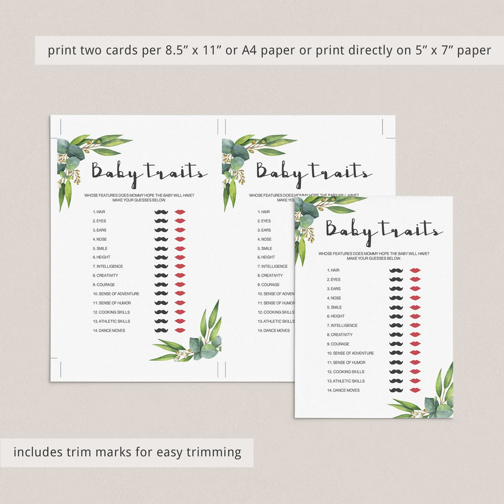 Baby traits baby shower game instant download by LittleSizzle