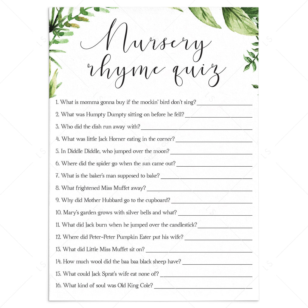 Greenery nursery rhyme quiz babyshower game printable by LittleSizzle